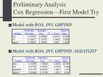 preliminary analysis cox regression first model try1