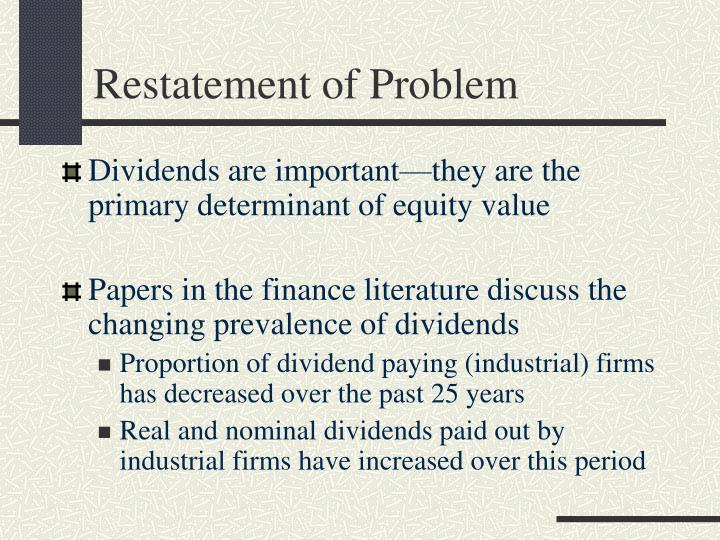 Restatement of Problem