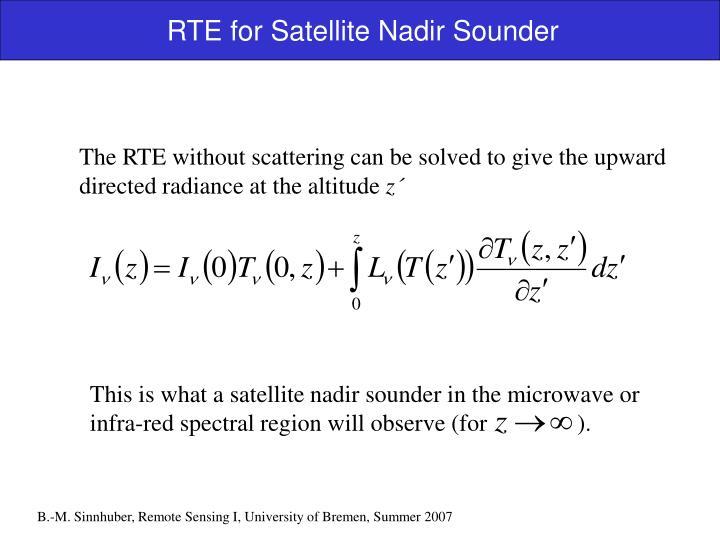 RTE for Satellite Nadir Sounder