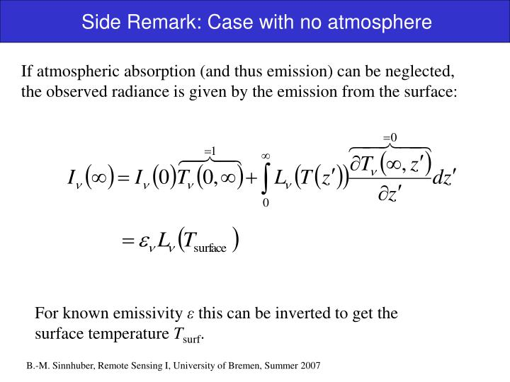Side Remark: Case with no atmosphere
