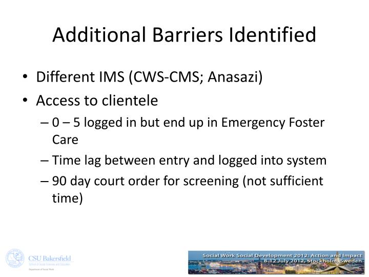 Additional Barriers Identified