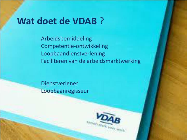 Wat doet de VDAB