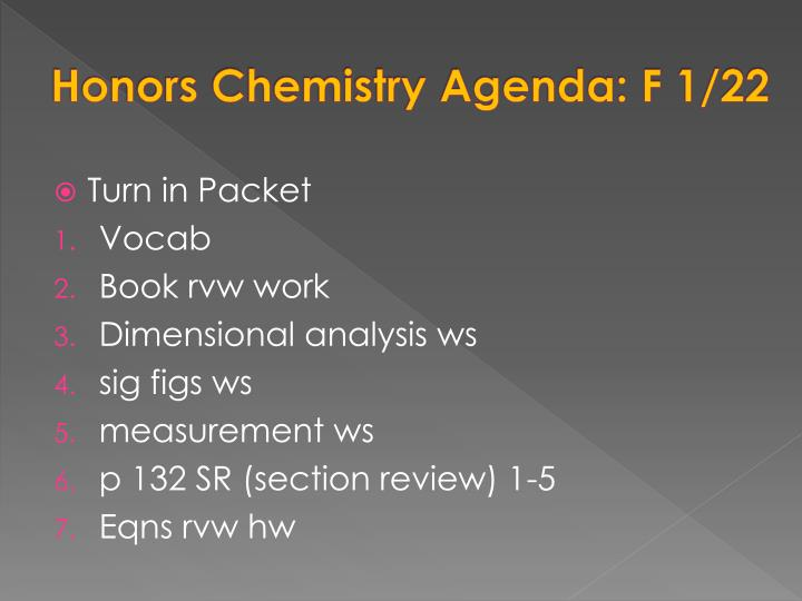 Honors Chemistry Agenda: F 1/22