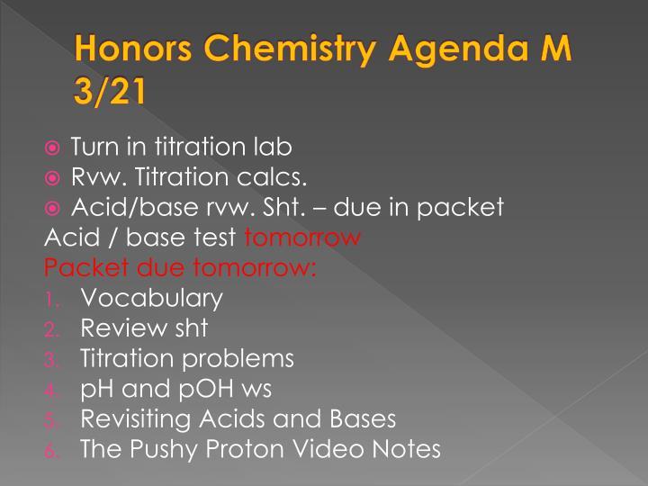 Honors Chemistry Agenda M