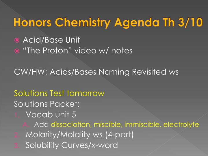 Honors Chemistry Agenda