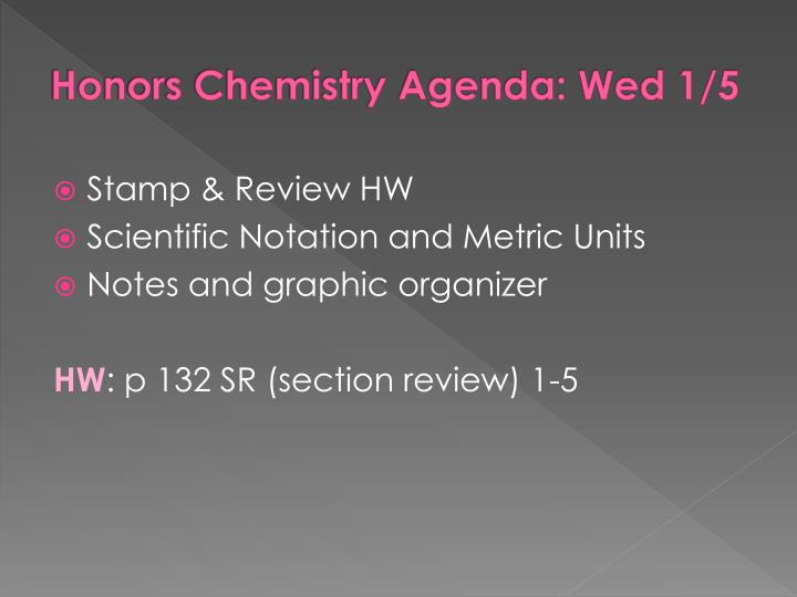 Honors Chemistry Agenda: Wed 1/5