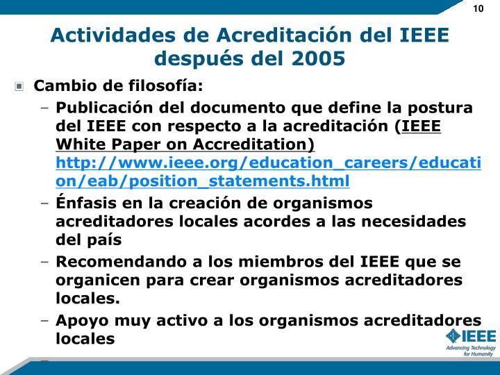 Actividades de Acreditación del IEEE después del 2005