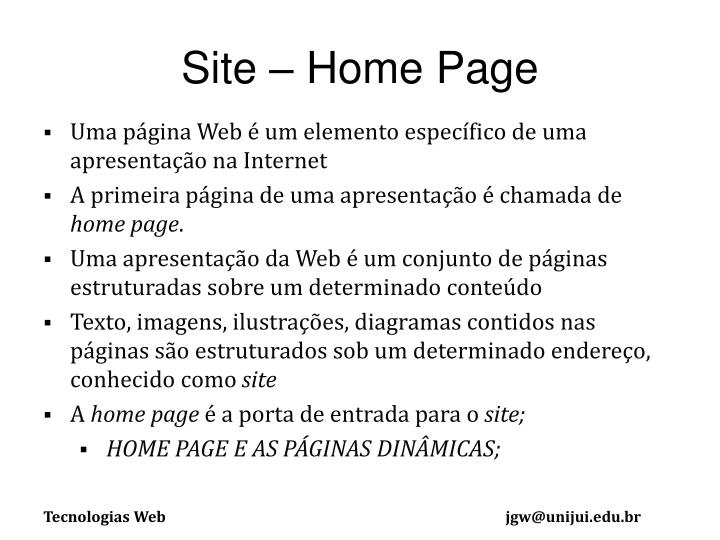 Site – Home Page