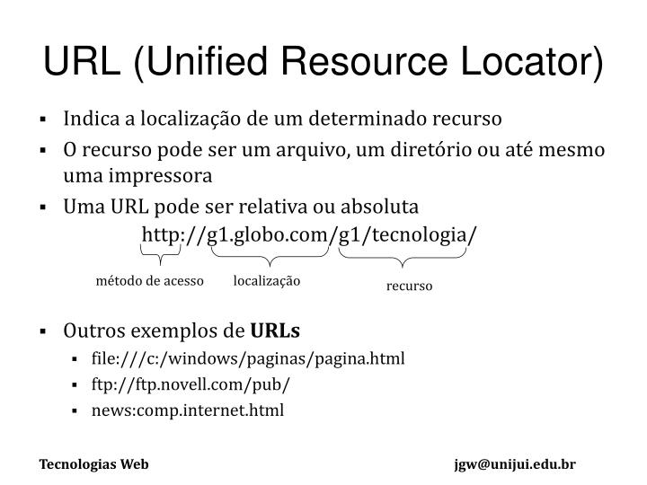 URL (Unified Resource Locator)