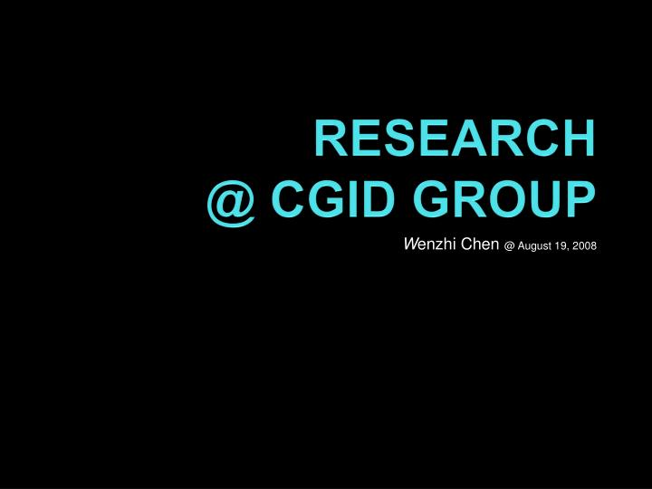 Research @ cgid group
