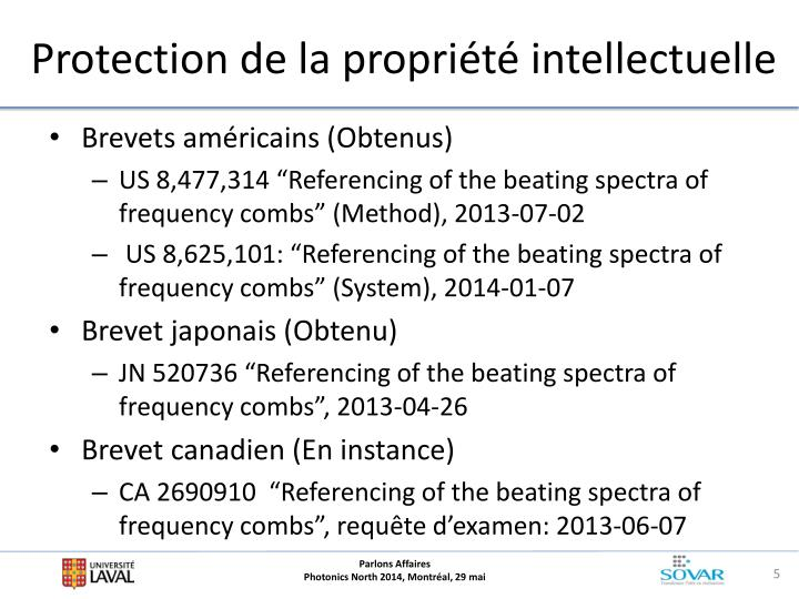 Protection de la propriété intellectuelle