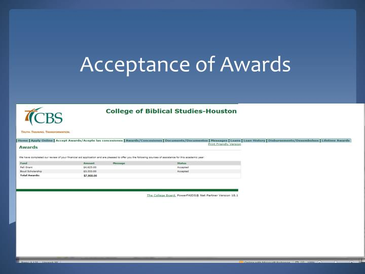 Acceptance of Awards
