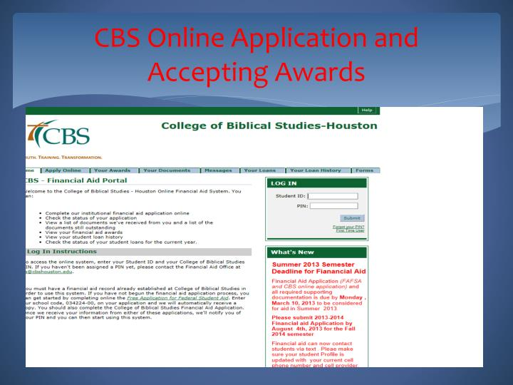 CBS Online Application and Accepting Awards