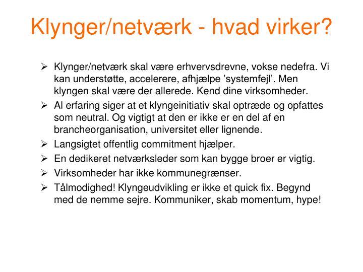 Klynger/netværk - hvad virker?