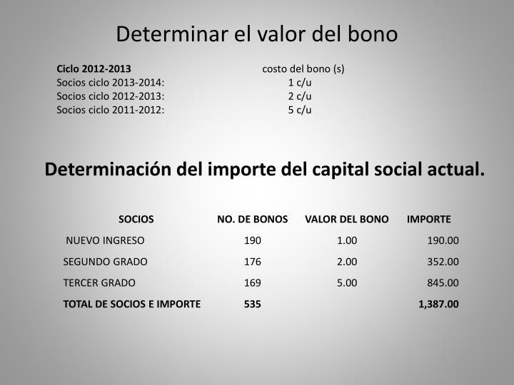 Determinar el valor del bono