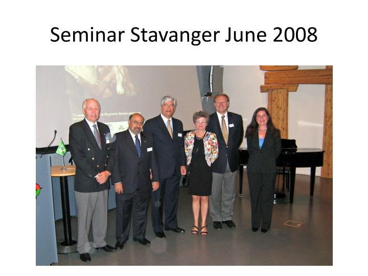 Seminar Stavanger June 2008
