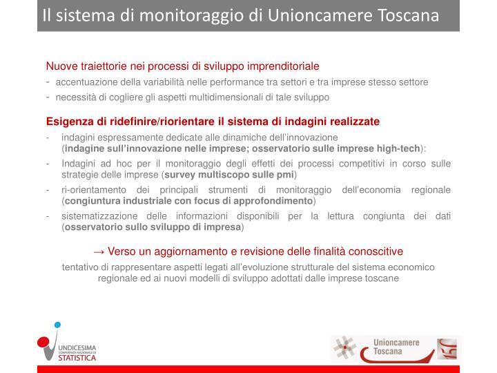 Il sistema di monitoraggio di Unioncamere Toscana