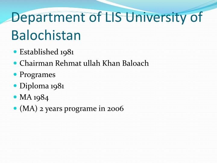 Department of LIS University of