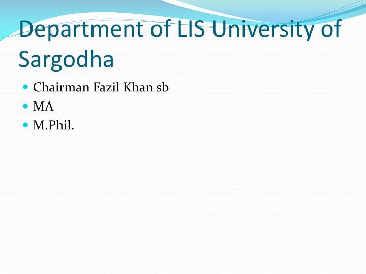 Department of LIS University of Sargodha