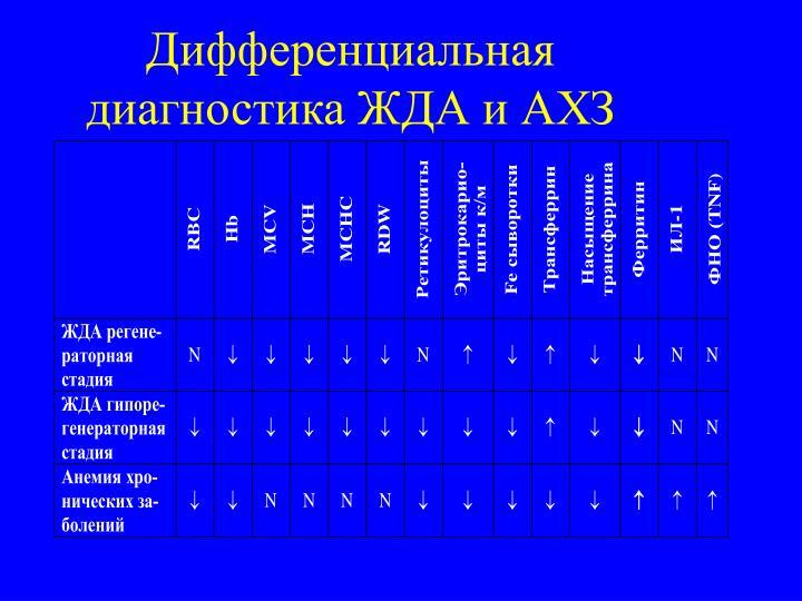 Дифференциальная диагностика ЖДА и АХЗ