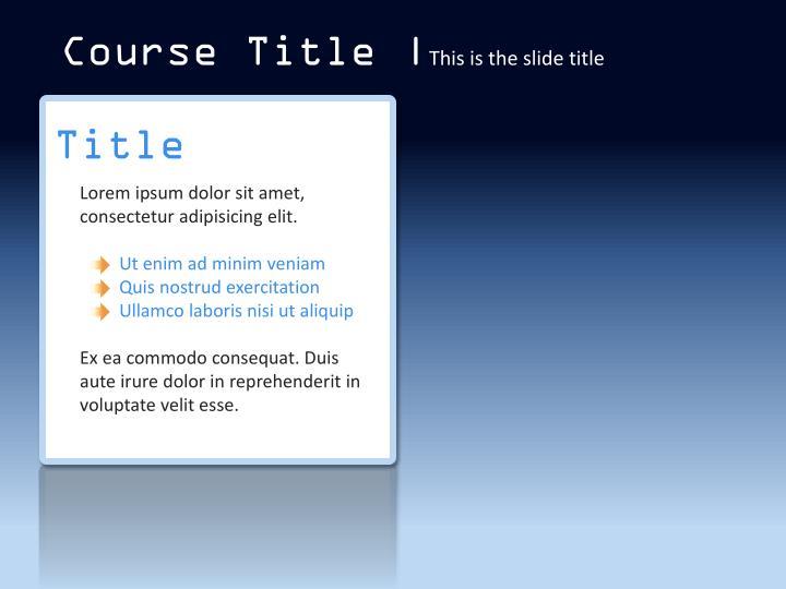 Course Title |