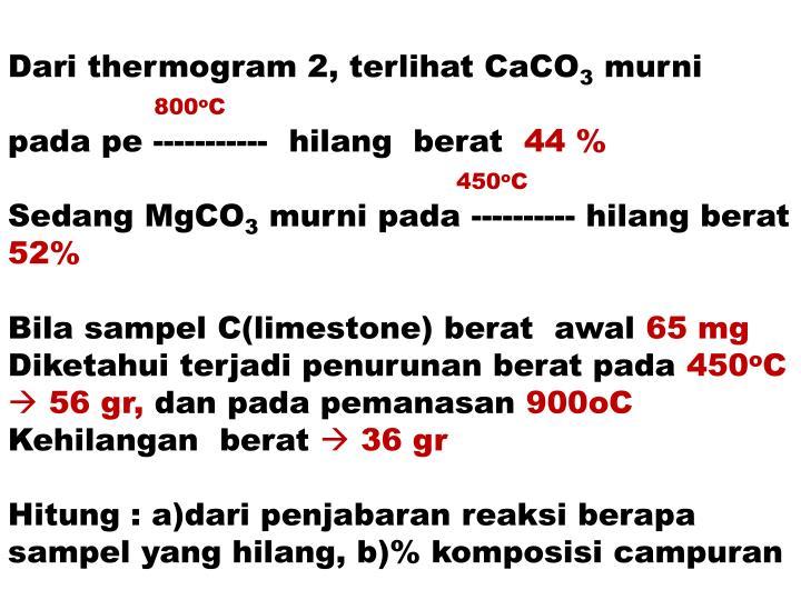 Dari thermogram 2, terlihat CaCO
