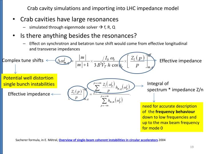 Crab cavity simulations and importing into LHC impedance model