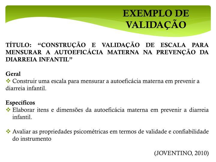 EXEMPLO DE VALIDAÇÃO