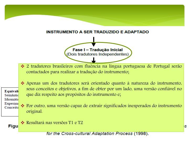 2 tradutores brasileiros com fluência na língua portuguesa de Portugal serão contactados para realizar a tradução do