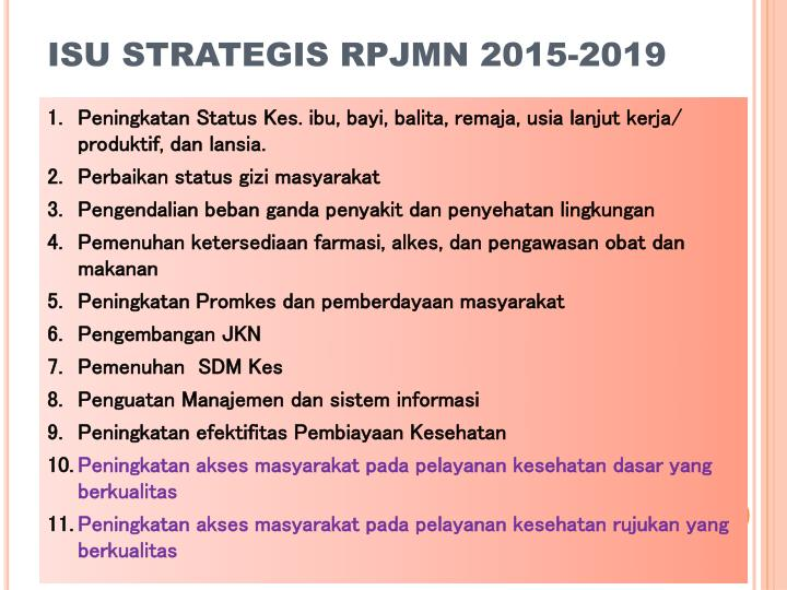 ISU STRATEGIS RPJMN 2015-2019