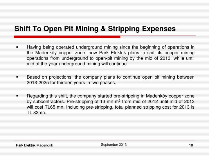 Shift To Open Pit Mining