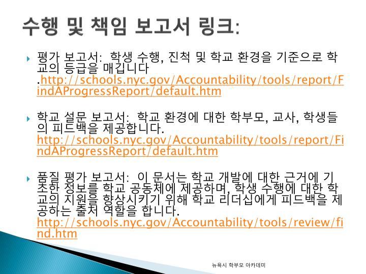 수행 및 책임 보고서 링크: