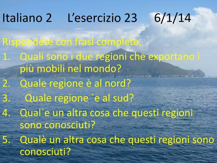 Italiano 2L'esercizio 23   6/1/14