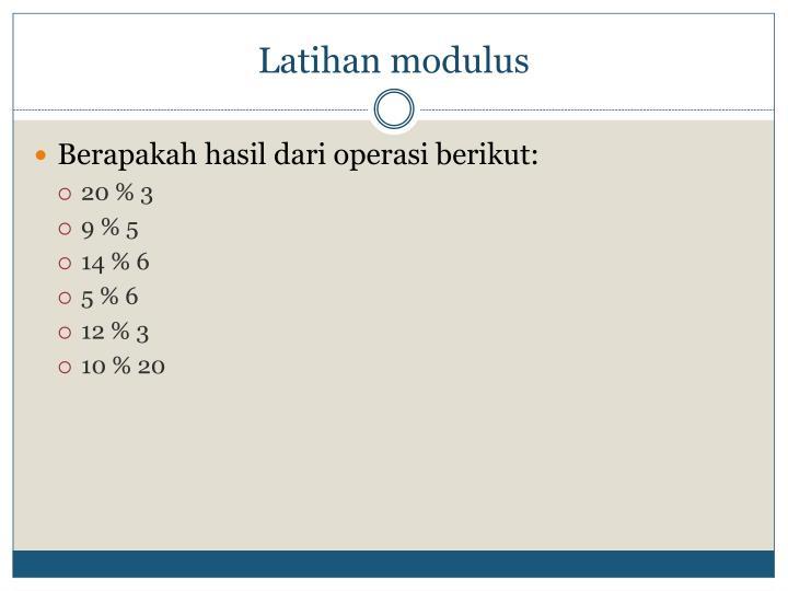Latihan modulus