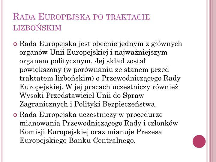 Rada Europejska po traktacie lizbońskim
