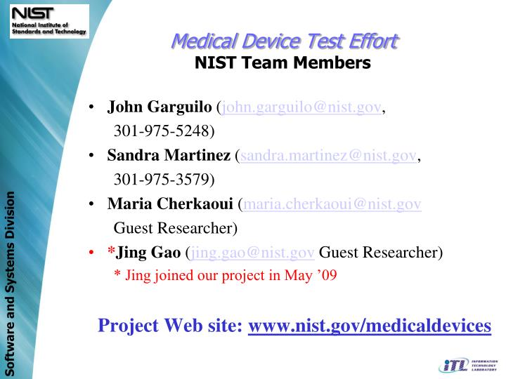 Medical Device Test Effort