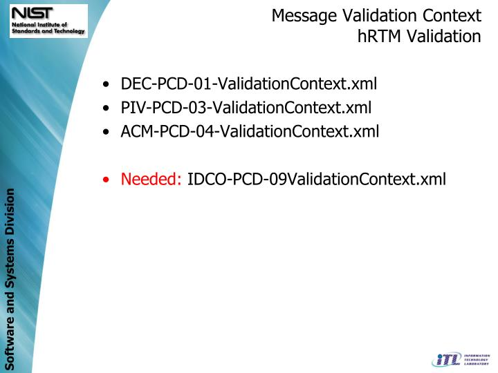 Message Validation Context