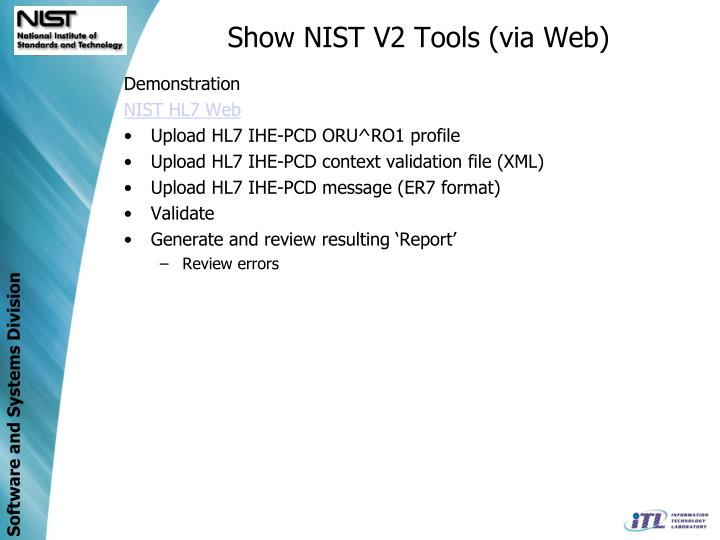 Show NIST V2 Tools (via Web)