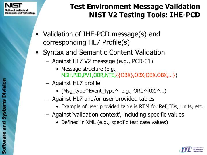 Test Environment Message Validation