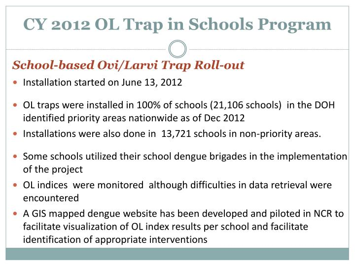 CY 2012 OL Trap in Schools Program
