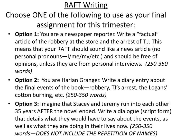 Raft writing choose one of the following to use as your final assignment for this trimester