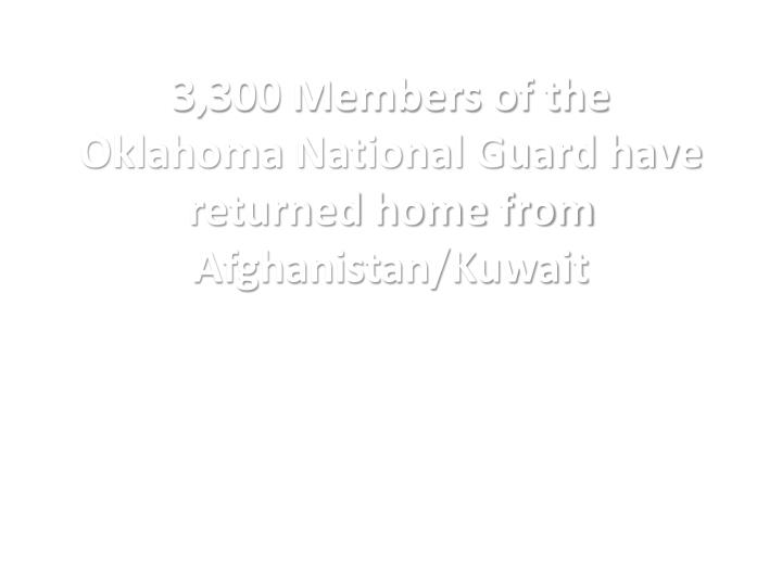 3,300 Members of the Oklahoma National Guard have returned home from Afghanistan/Kuwait