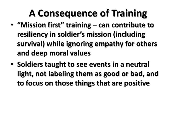 A Consequence of Training