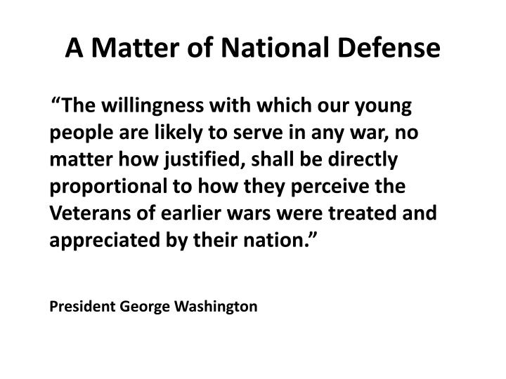 A Matter of National Defense