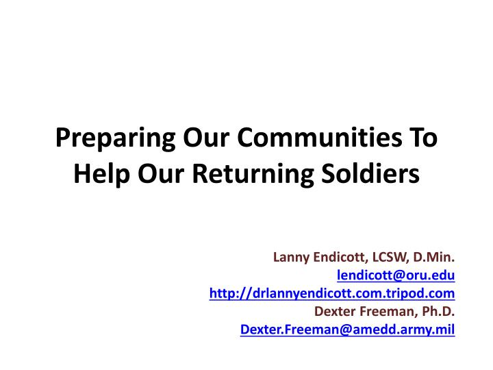 Preparing our communities to help our returning soldiers