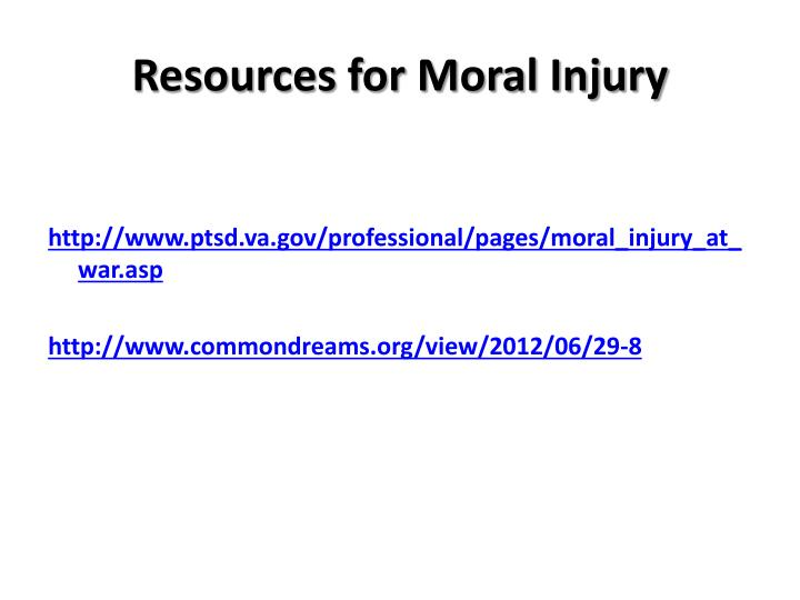 Resources for Moral Injury
