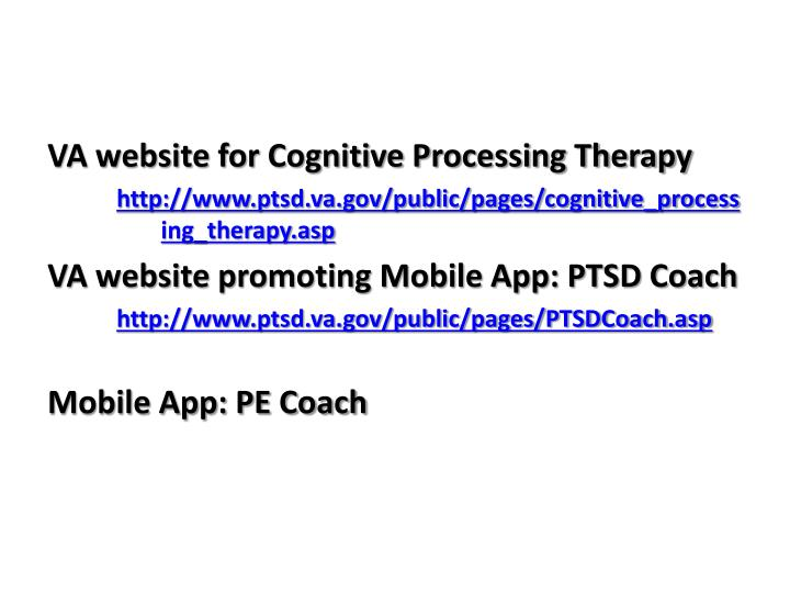 VA website for Cognitive Processing Therapy