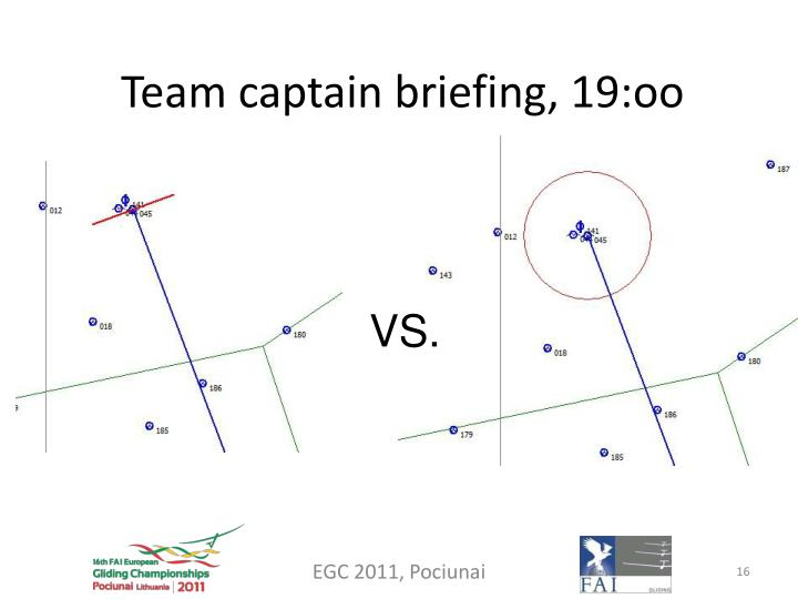 Team captain briefing, 19:oo