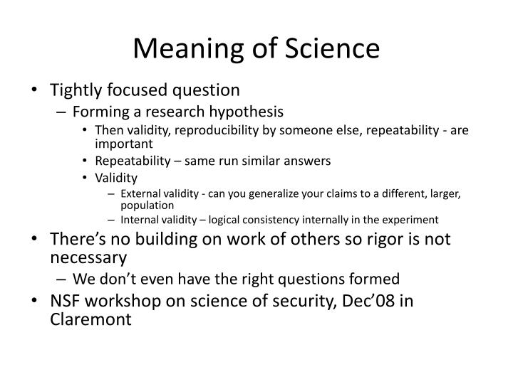 Meaning of Science