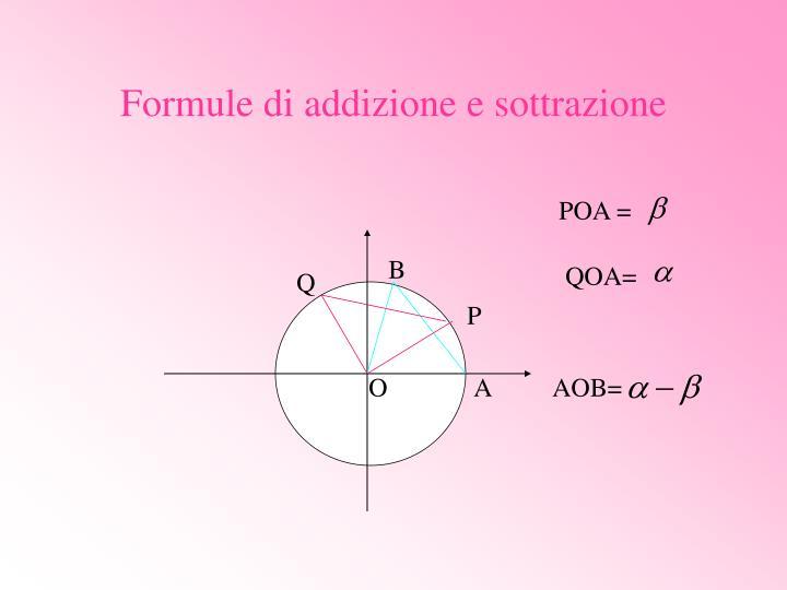 Formule di addizione e sottrazione